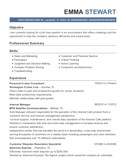 Personal Cruise Consultant resume sample Florida