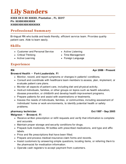 RN resume example Florida