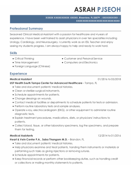 Medical Assistant resume format Florida