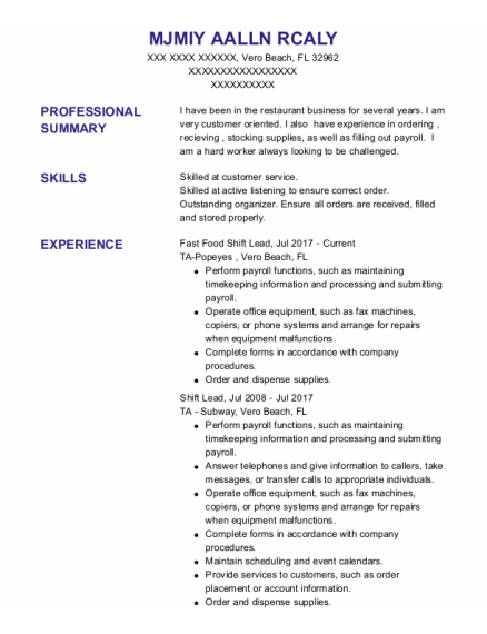 Shift Lead resume example Florida