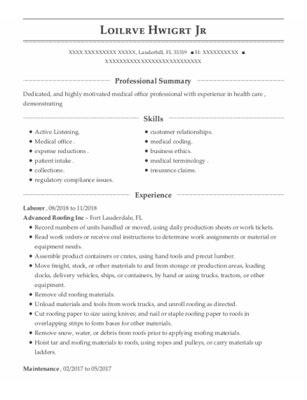 laborer resume example Florida