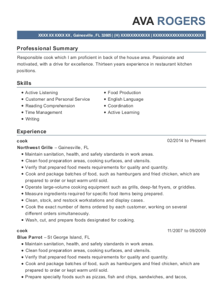 Cook resume example Florida
