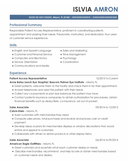 Patient Access Representative resume sample Florida