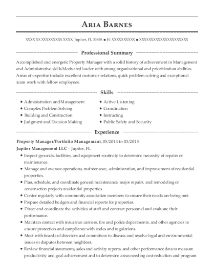Property Manager resume format Florida