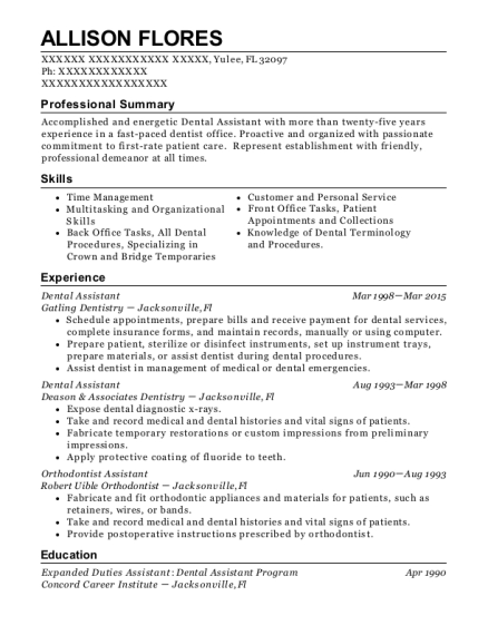 Dental Assistant resume sample Florida