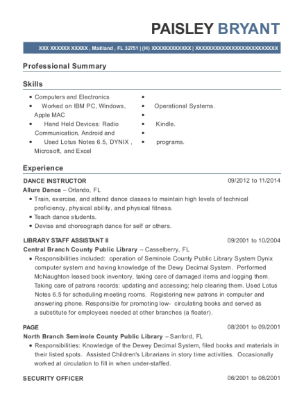 DANCE INSTRUCTOR resume sample Florida