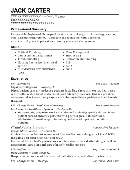 RN staff nurse resume sample Florida