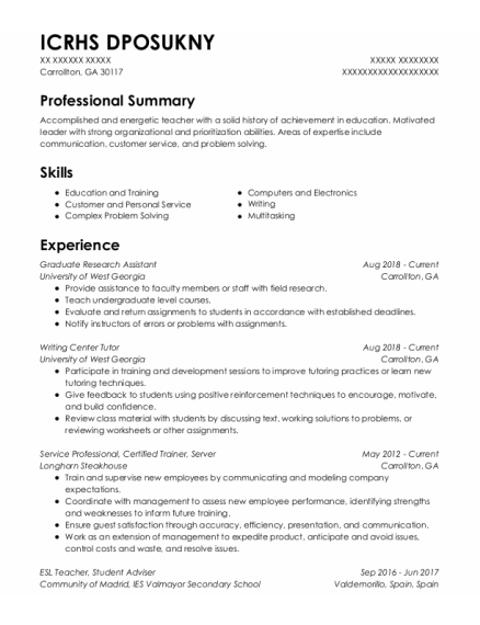 Graduate Research Assistant resume sample Georgia