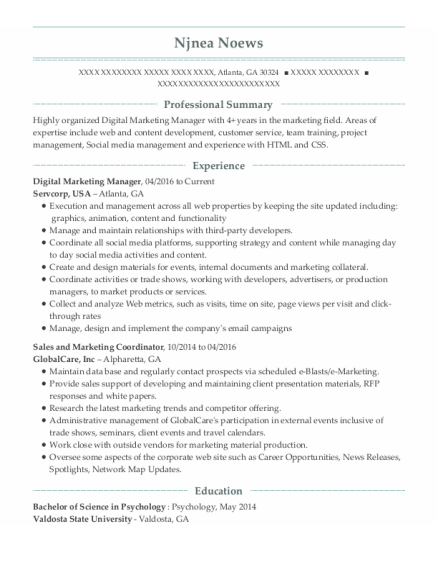 Digital Marketing Manager resume template Georgia