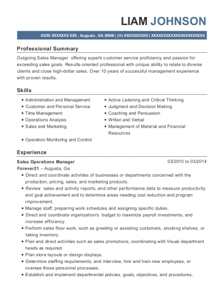 Sales Operations Manager resume example Georgia