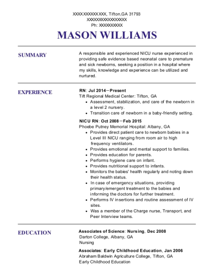 RN resume example Georgia
