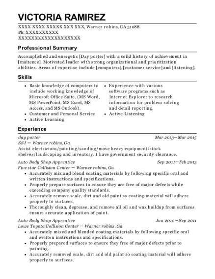 day porter resume sample Georgia