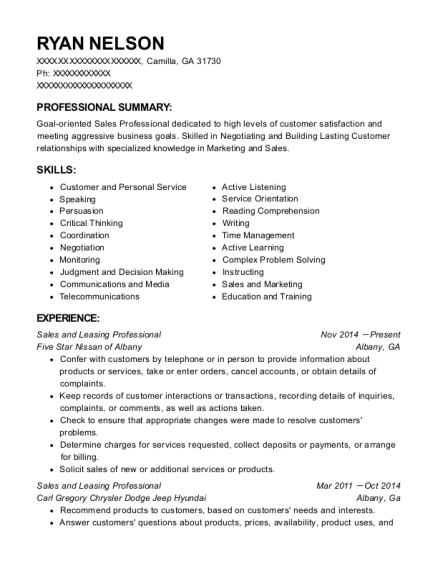 Sales and Leasing Professional resume example Georgia