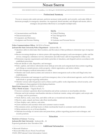 Police Communications Officer resume format Georgia