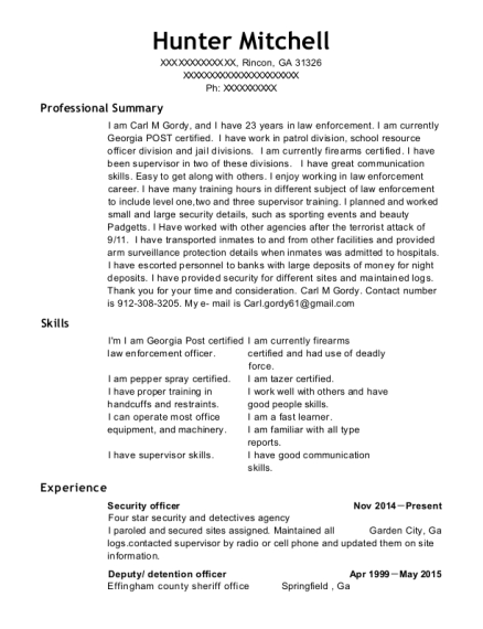 Security Officer resume format Georgia