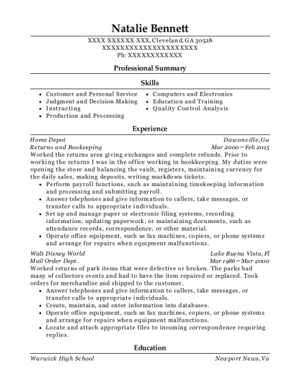 Returns and Bookeeping resume sample Georgia