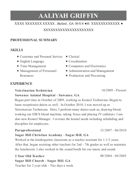 Veterinarian Technician resume example Georgia