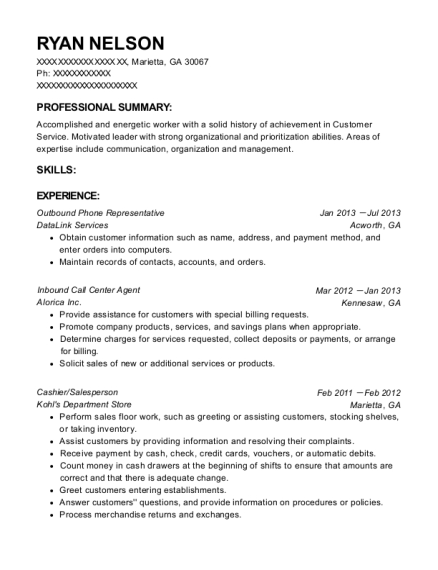 Outbound Phone Representative resume sample Georgia