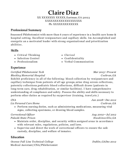 Certified Phlebotomist Tech resume example Georgia