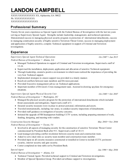 Supervisory Special Agent Technical Operations resume template Georgia