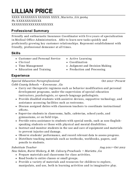 Special Education Paraprofessional resume template Georgia