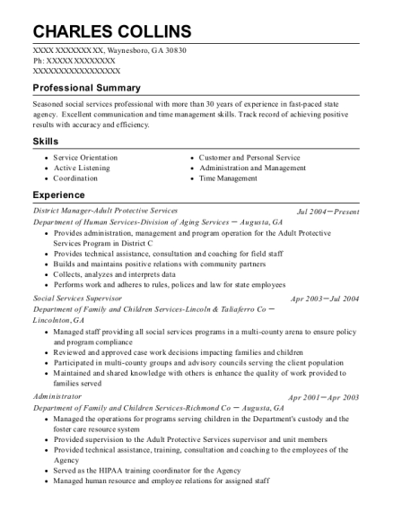 District Manager Adult Protective Services resume template Georgia