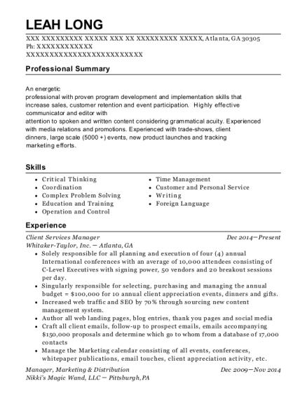 Client Services Manager resume example Georgia