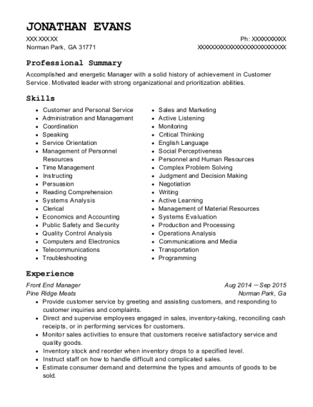 Front End Manager resume example Georgia