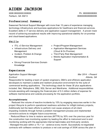 Application Support Manager resume sample Georgia