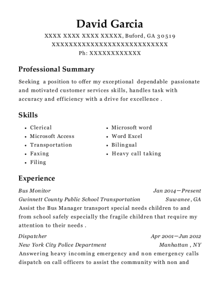 Bus Monitor resume sample Georgia