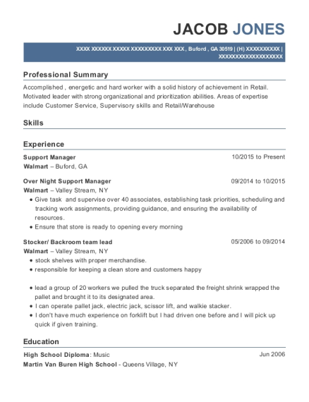 Support Manager resume template Georgia