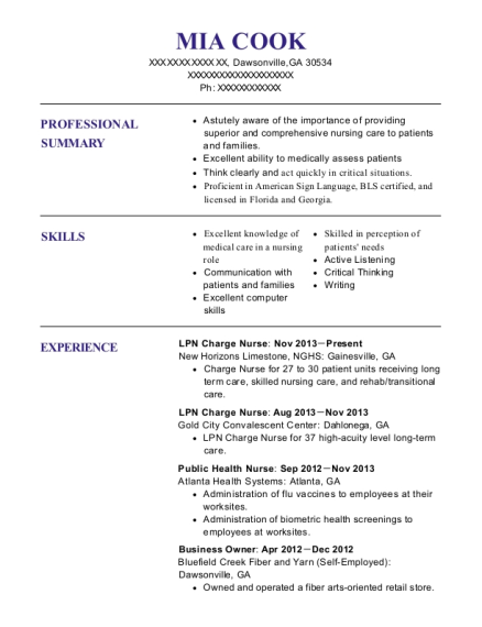 LPN Charge Nurse resume format Georgia
