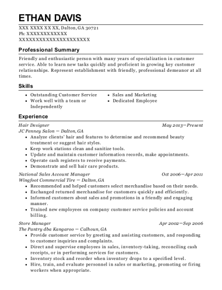 Hair Designer resume template Georgia