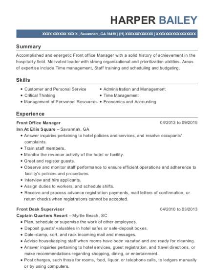 Front Office Manager resume format Georgia