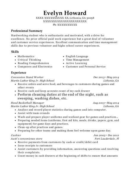 Concession Stand Worker resume example Georgia