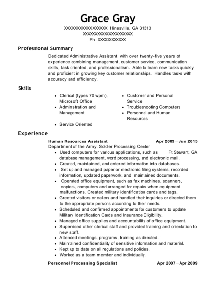 Human Resources Assistant resume template Georgia