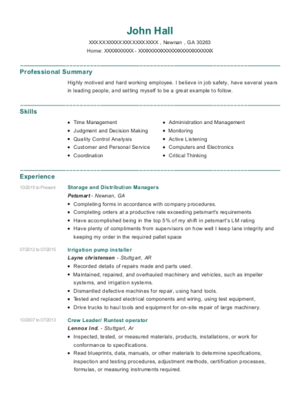 Storage and Distribution Managers resume template Georgia