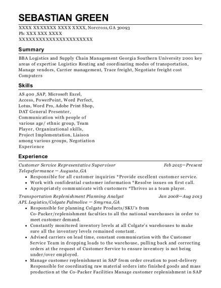 Customer Service Representative Supervisor resume template Georgia