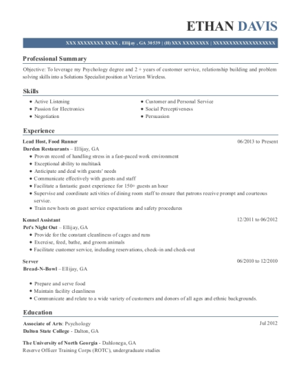 Lead Host resume example Georgia