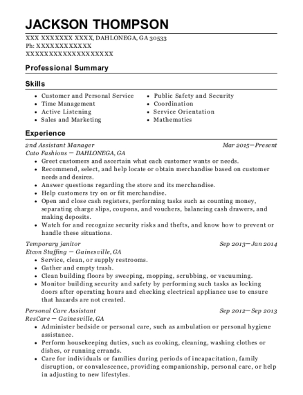 2nd Assistant Manager resume format Georgia