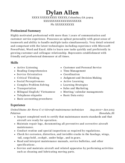 United States Air Force C 17 Aircraft maintenance technician resume format Georgia