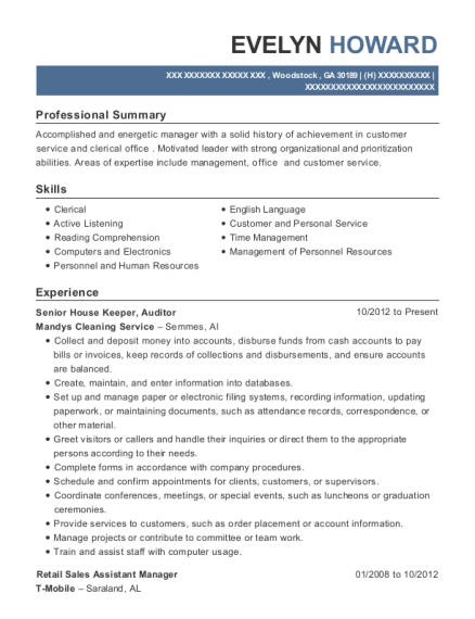 Senior House Keeper resume sample Georgia