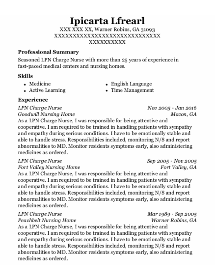 LPN Charge Nurse resume template Georgia