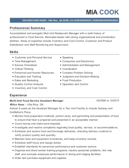 Multi Unit Food Service Assistant Manager resume example Georgia