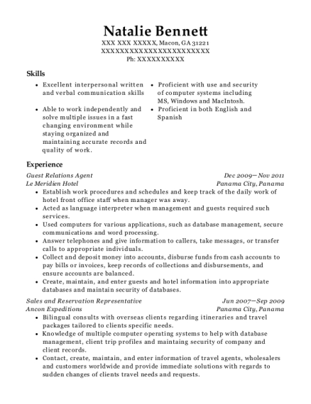 Guest Relations Agent resume template Georgia