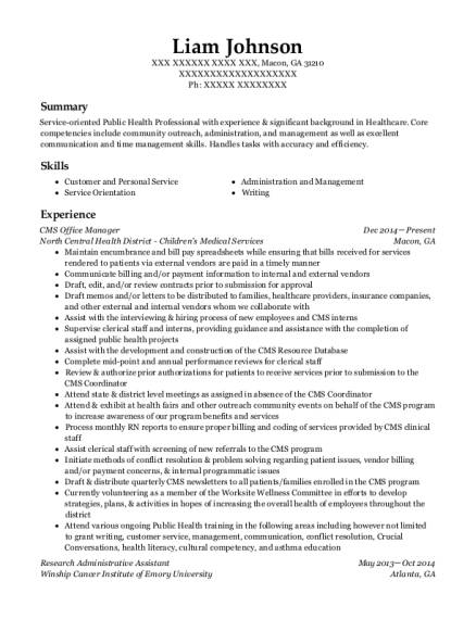 CMS Office Manager resume template Georgia