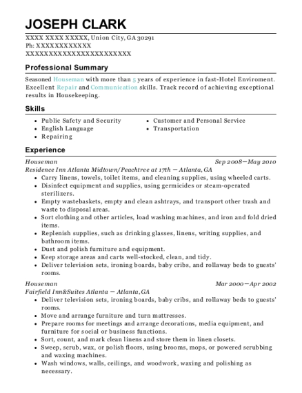 Houseman resume sample Georgia