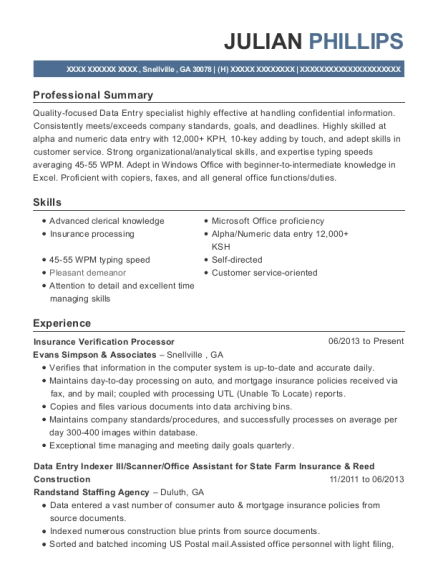 Insurance Verification Processor resume sample Georgia