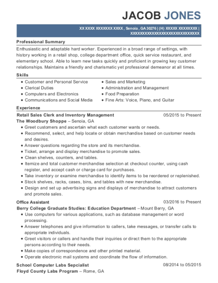 Retail Sales Clerk and Inventory Management resume format Georgia