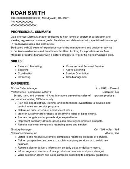 District Sales Manager resume example Georgia
